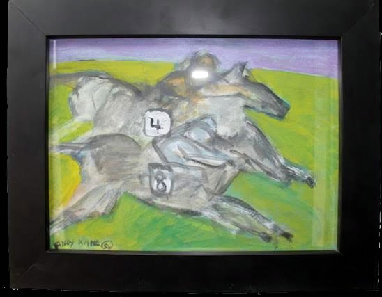 """Andy Kane Painting on Paper - Horse Race 11.5""""x14.5"""" Framed $500"""