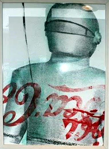 "Peter Mars Serigraph print on fabric - The Day the Earth Stood Still 22""x20"" $1500 Framed"