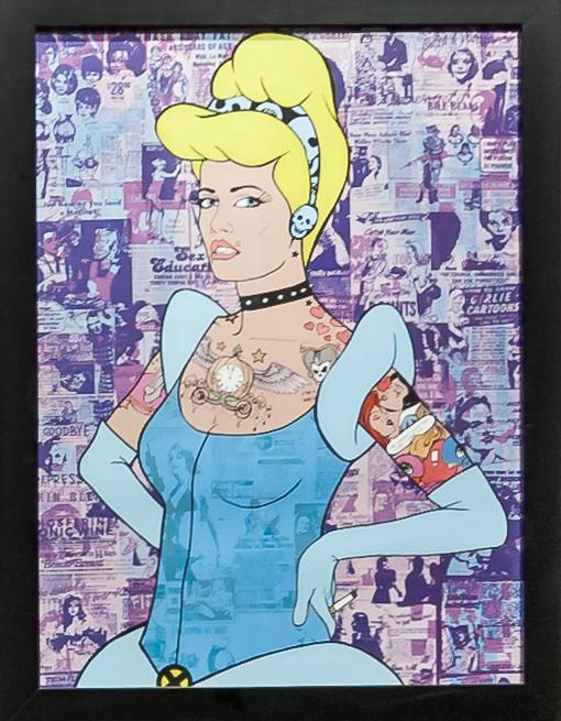 "Donald Topp Cartoon Tattoo Hipster Girls - Cinderella 26.5""x20.5"""