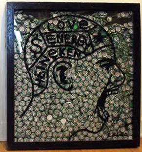 "Original Chris Peldo Art - Heinken Head #2 29""x27"" Framed $5000"