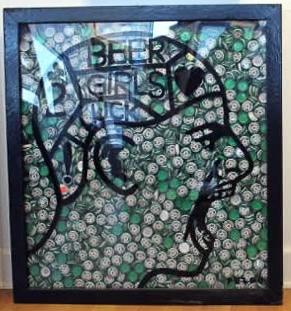 """Original Chris Peldo Art - Heinken Head #2 29""""x27"""" Framed $5000"""