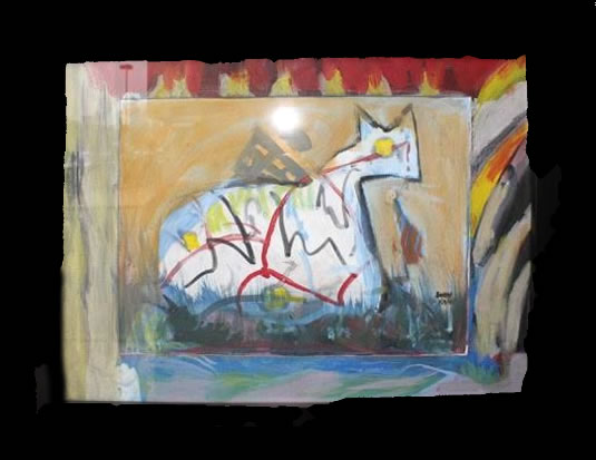 """Andy Kane Painting on Paper - Cecil 11.5""""x14.5"""" Framed $500"""