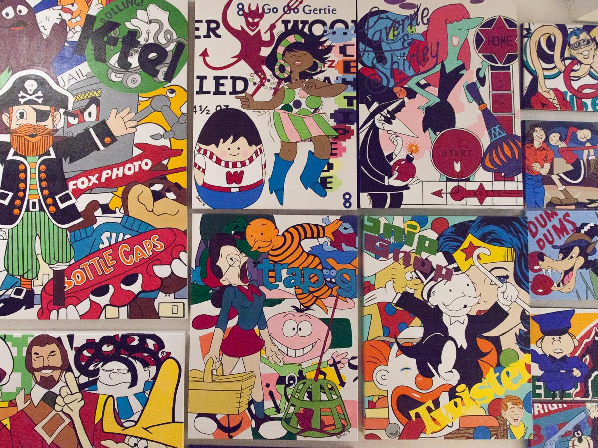 pam dietrich multiple original art works on wall pop art