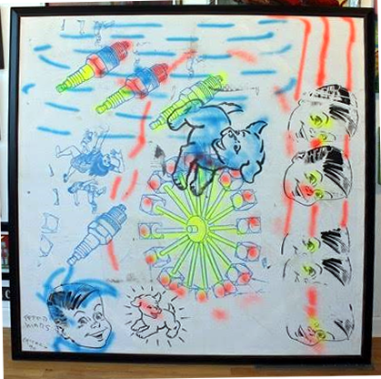 "Peter Mars Serigraph print on fabric - - Blue Dog 72""x60"" $5000 Framed"