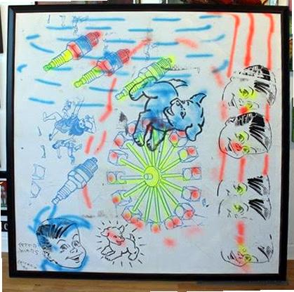 "Peter Mars Serigraph print on fabric - - Blue Dog 72""x60"" $5000 Framed"