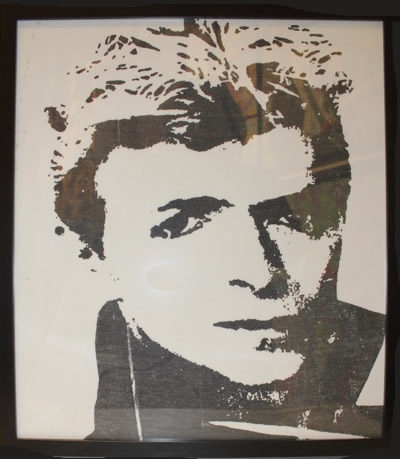 "Peter Mars Serigraph print on fabric -David Bowie #1 22""x20"" $1000 Framed"