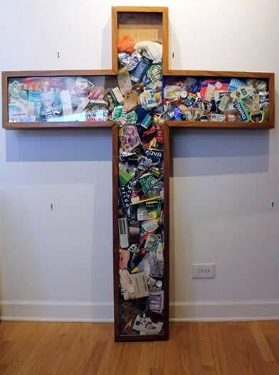 """Original Chris Peldo Art - Garbage Cross 64""""x52"""" $5000"""