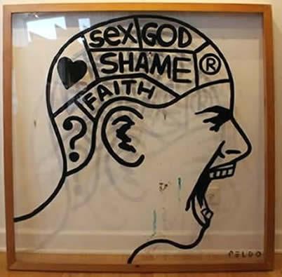 """Original Chris Peldo Art - Garbage Head 47""""x47"""" $2500"""
