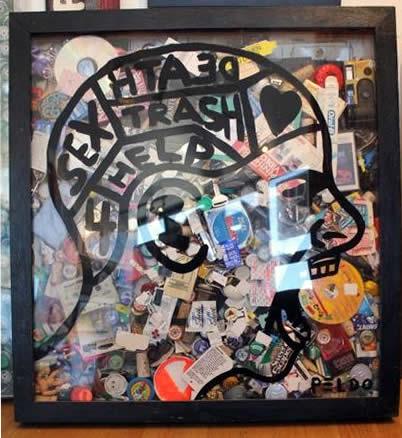 """Original Chris Peldo Art - Garbage Head 29""""x27"""" $2500"""