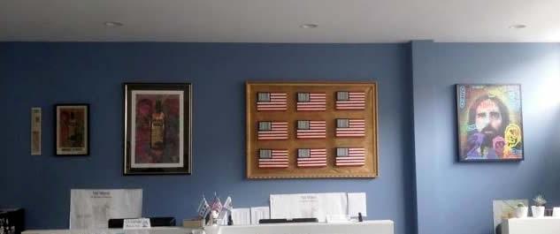 Chris Peldo original art on blue wall