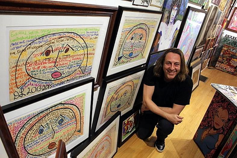 david leonardis kneeling with his original art printss