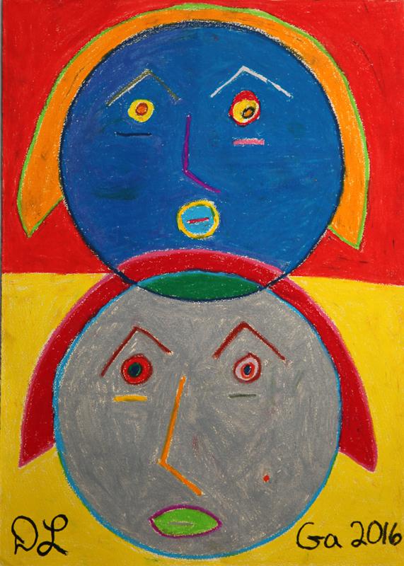 david leonardis original art 2 heads drawing self-portrait
