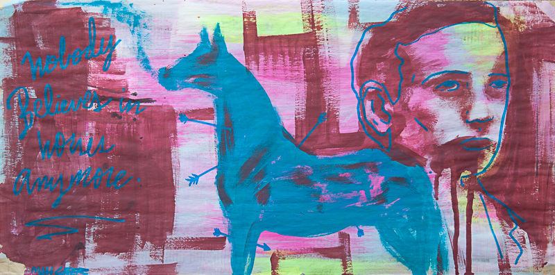 """Matt Geer painting - Nobody Believes in Horses Anymore 11""""x""""22"""