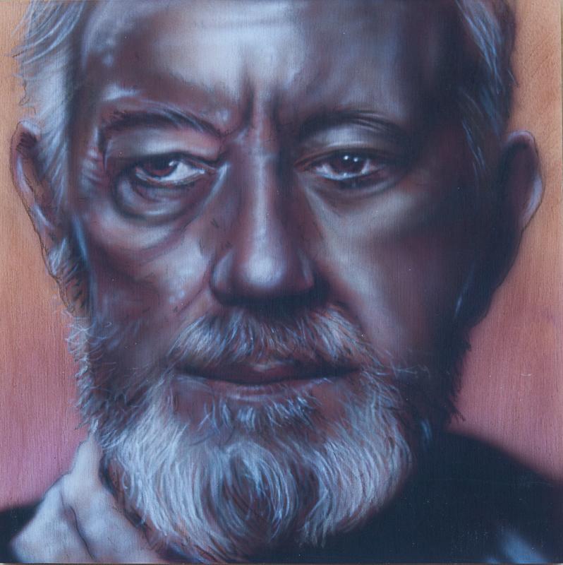 "Ben Laskov - Obi-Wan Kenobi 12""x12"" Airbrush on Board"