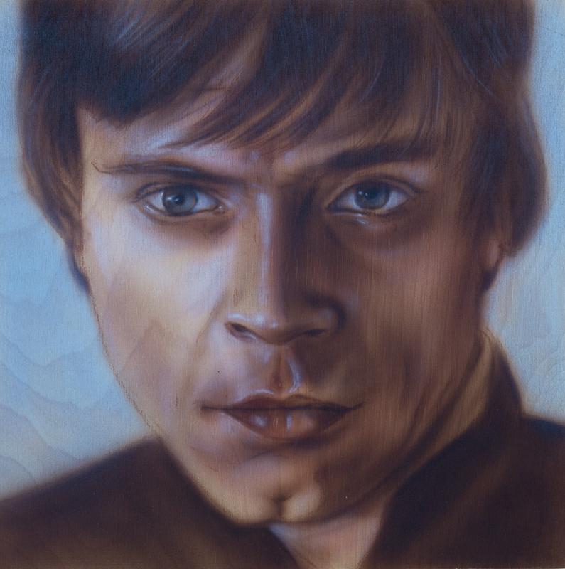 """Ben Laskov - Luke Skywalker 12""""x12"""" Airbrush on Board"""