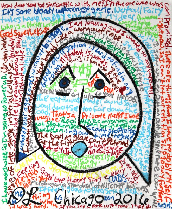 david leonardis original art drawing self-portrait