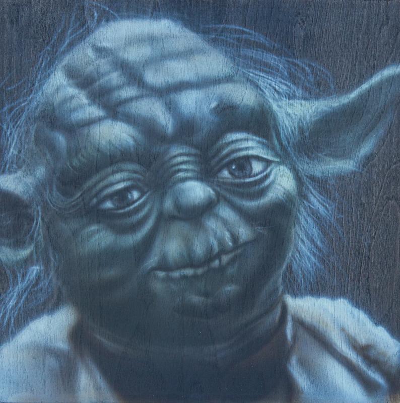 """Ben Laskov - Yoda 12""""x12"""" Airbrush on Board"""