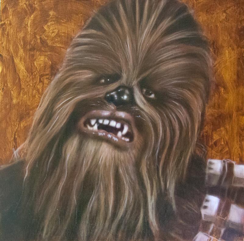 "Ben Laskov - Chewbacca 12""x12"" Airbrush on Board"