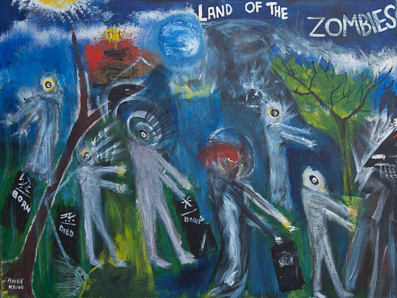 """Andy Kane painting -Land of the Zombies 32""""x42"""" Oil on Canvas"""