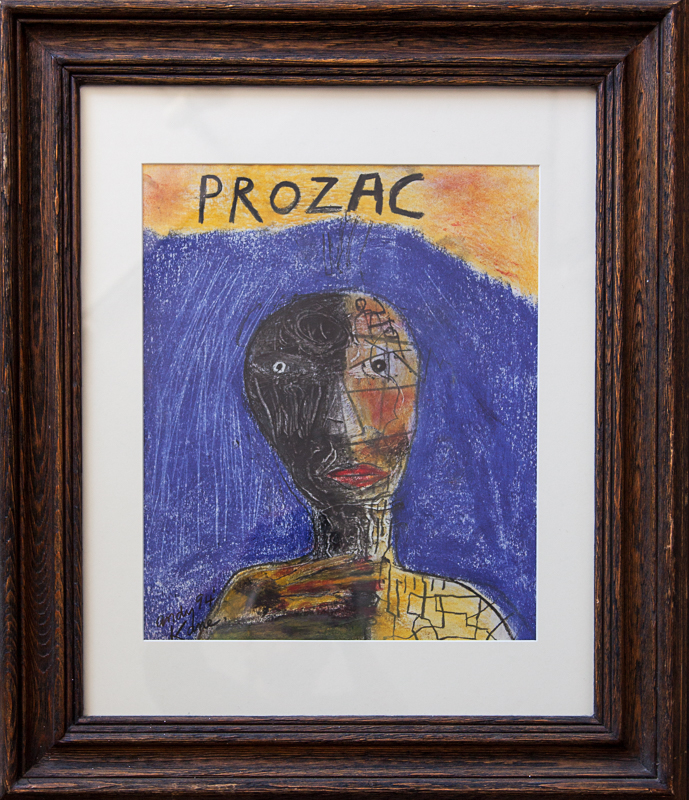 """Andy Kane art - Prozac 28""""x24"""" Pastel and Lead on Paper"""
