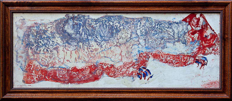 """Andy Kane - The Snakes 17""""x38"""" Encaustic on Board"""