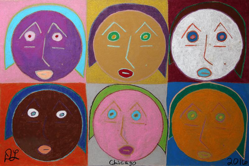 david leonardis original art 6 heads drawing self-portrait