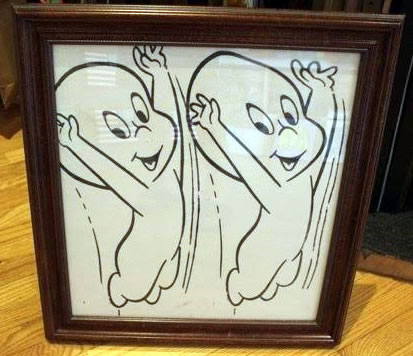 "Peter Mars Serigraph print on fabric -Double Casper 22""x20"" $1000 Framed"