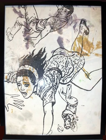 "Peter Mars Serigraph print on fabric - Falling People #1 22""x20"" $1000 Framed"
