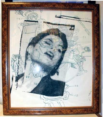 "Peter Mars Serigraph print on fabric - Fashion 22""x20"" $1000 Framed"