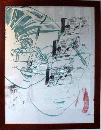 "Peter Mars Serigraph print on fabric -Flip Flop 22""x20"" $1000 Framed"