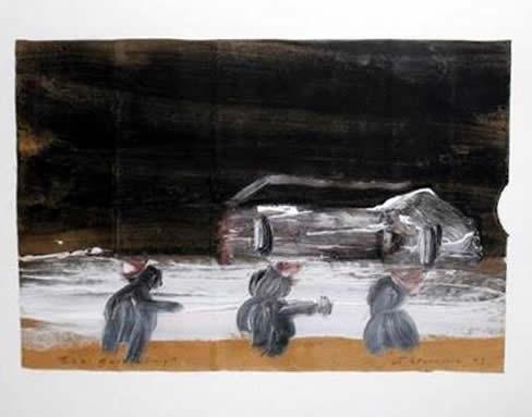 """Jay Steensma Original Art - """"Eco Gathering"""" Signed Oil on Paper Bag 20""""x22"""" Framed $1500"""