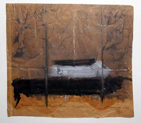 """Jay Steensma Original Art - William Palmer's Final Resting Place 20""""x22"""" Signed Oil on Paper Bag Framed $1500"""