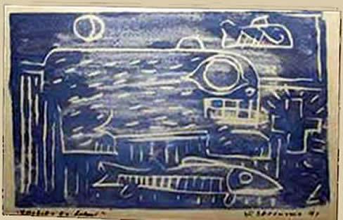 Jay Steensma - Signed wood block print on paper, blue fish