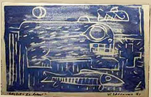 Jay Steensma - Signed wood block print on paper, blue fish