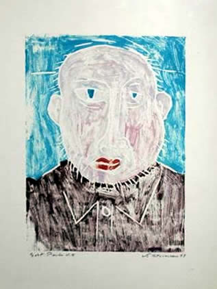 "Jay Steensma Original Art - Self-Portrait 16""x12"" Signed Wood Block Print on Paper Framed $700"