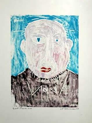 "Jay Steensma Original Art - Self-Portrait 16""x12"" Signed Wood Block Print on Paper Framed $700"