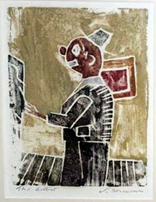 "Jay Steensma Original Art - The Artist 16""x12"" Signed Wood Block Print on Paper Framed $700"