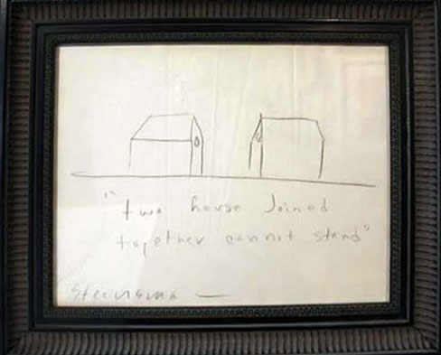 """Jay Steensma Original Art - Two House Joined Together Can Not Stand 12""""x16"""" Signed Drawing on Paper Framed $750"""