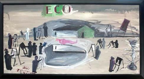 "Jay Steensma Original Art - ""Eco #1"" Signed Oil on Canvas 28""x52"" Framed $4000"