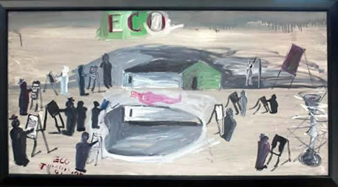 "Jay Steensma Original Art - ""Eco #1"" Signed Oil on Canvas 28""x52"" Framed $4000"
