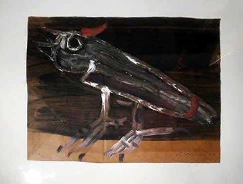 "Jay Steensma Original Art - ""Bird"" Signed Oil on Paper Bag 22""x24"" Framed $1500"