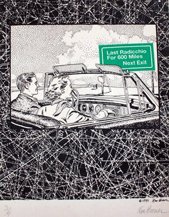 Original Ken Brown Screen Print - last radicchio for 600 miles