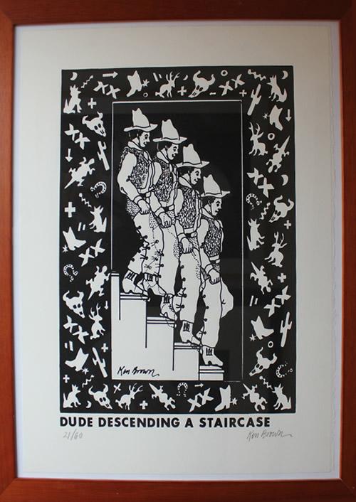 Original Ken Brown Screen Print - dude descending a staircase