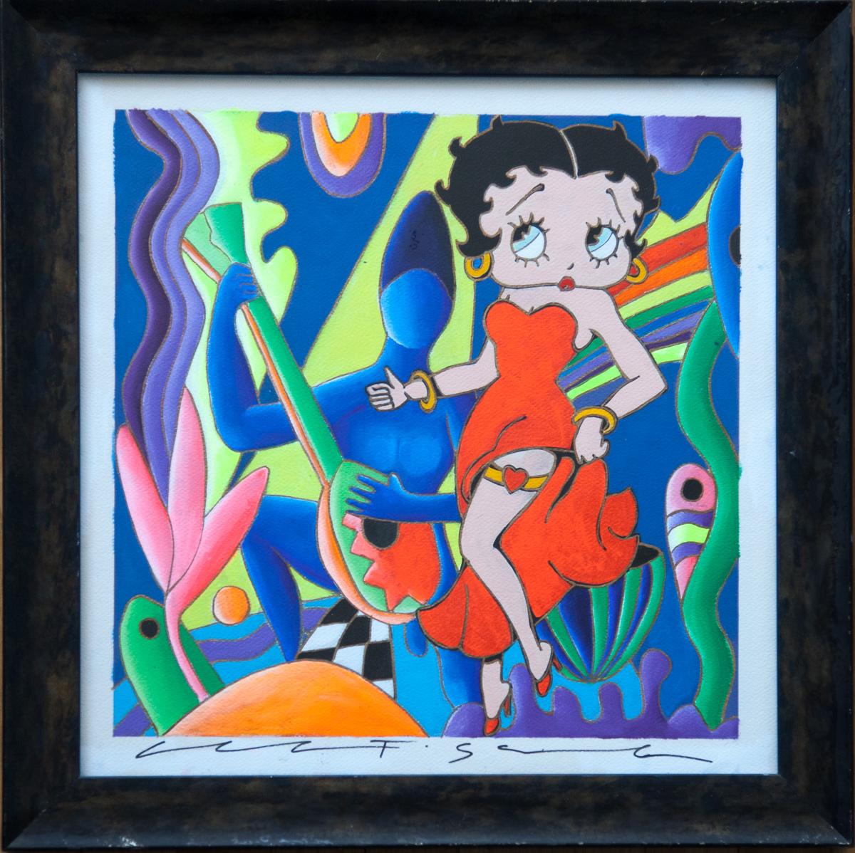 "Giancarlo Montuschi acrylic on paper -Betty Boop 20""x20"""