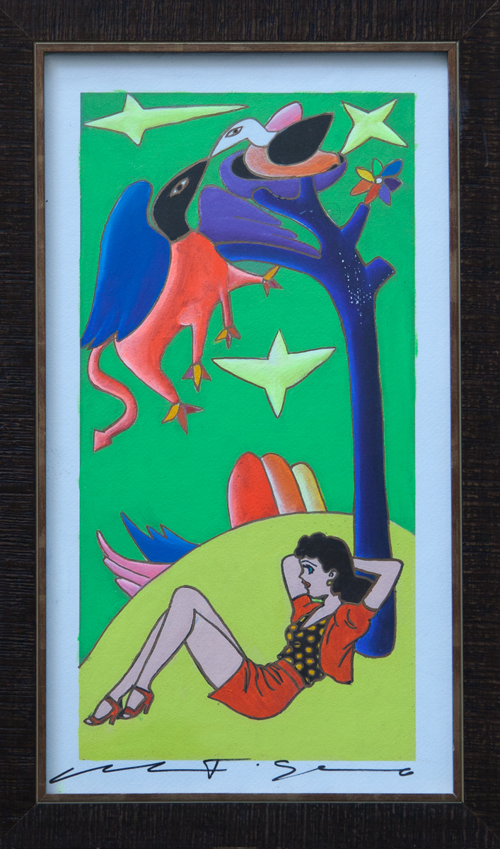 """Giancarlo Montuschi acrylic on paper -Aunt Fritzi and the Griffin 20""""x12"""""""