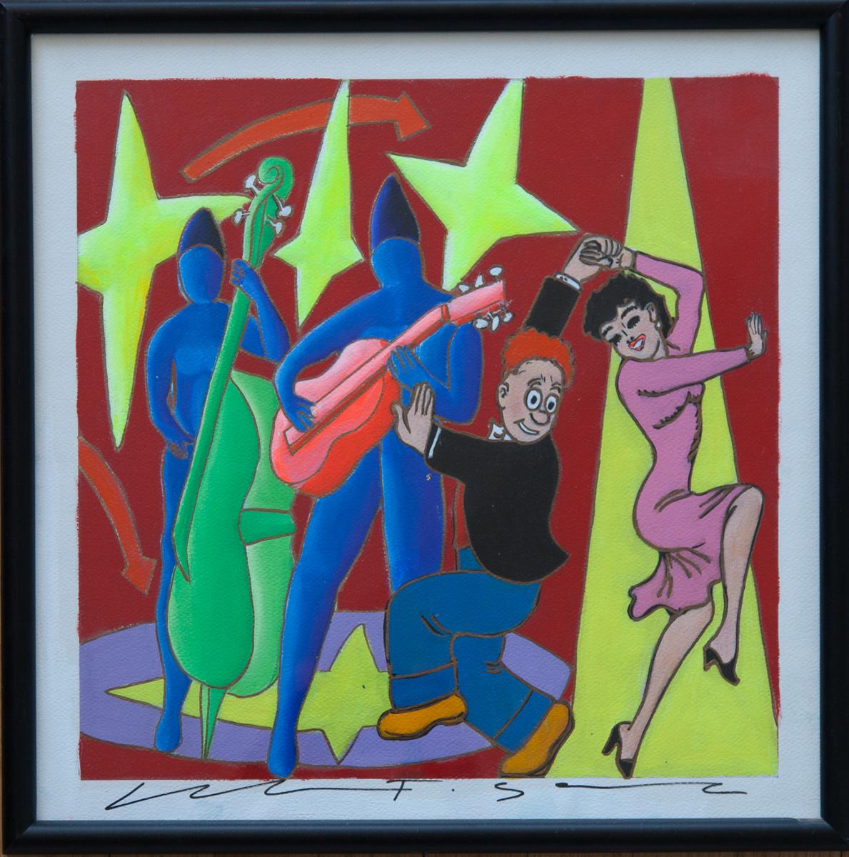"Giancarlo Montuschi acrylic on paper - Dancing Fools 18.5""x18.5"""