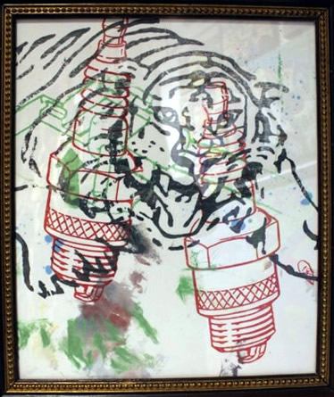 "Peter Mars Serigraph print on fabric -Tiger 22""x20"" $1000 Framed"