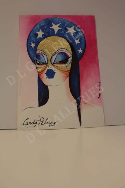 Candy Palermo lady portraits original pen ink and paint on art paper