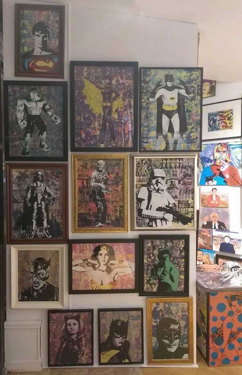 donald topp screen print art wall chewbacca star wars comics hulk storm trooper batman batgirl wonder woman darth vader pop culture cat woman superman michelle pfeiffer julie newmar