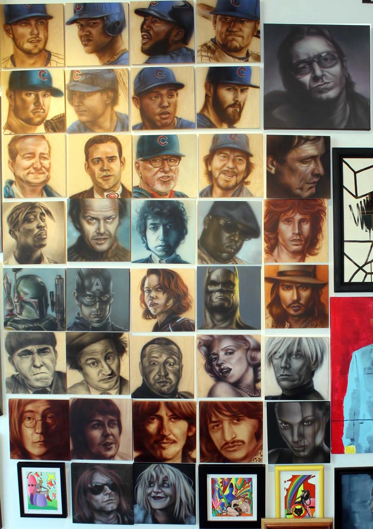 Ben Laskov original air brush portrait art wall at the david leonardis gallery
